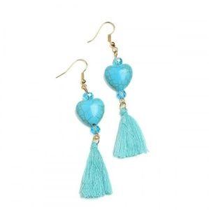 ❇️2 for 32$❇️Earrings w/teal hearts & tassels